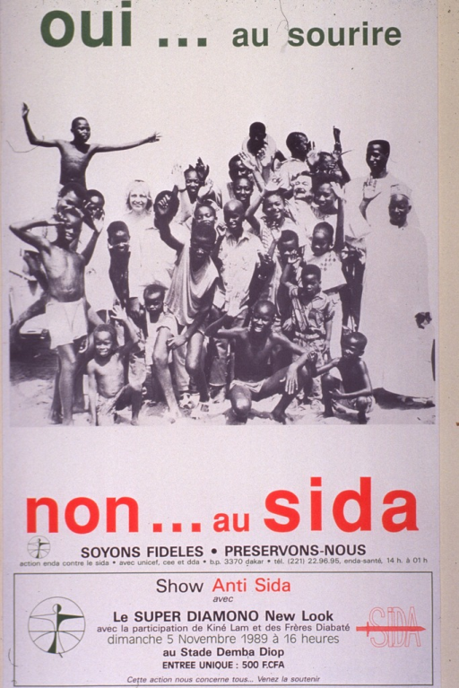 <p>Predominantly white poster with multicolor lettering.  Initial title phrase at top of poster.  Visual image is a b&amp;w photo reproduction featuring a large group of children, teens, and young adults smiling and waving.  Remaining title text and caption below photo.  Caption urges faithfulness and protection.  Publisher information below caption.  Additional text at bottom of poster announces an &quot;anti-AIDS&quot; concert.  Performers, date, location, and cost are listed.</p>