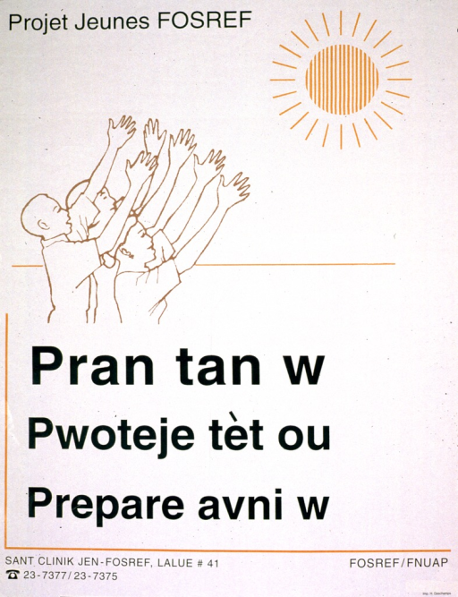 <p>Predominantly white poster with green lettering.  Visual image is a line drawing of three youths lifting their faces toward the sun, with arms upraised.  Title below illustration appears to address the ideas of protection and preparing for the future.  Publisher and sponsor information in lower right corner.</p>