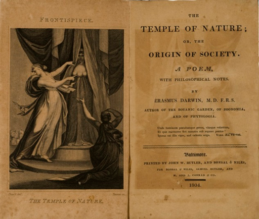 <p>Image of frontispiece and facing title page. Frontispiece includes woman in flowing robes on pedestal with three breasts. Two figures in foreground take notice. Small audience in background. Inscribed on plate: Fuseli del. Tanner sc.</p>