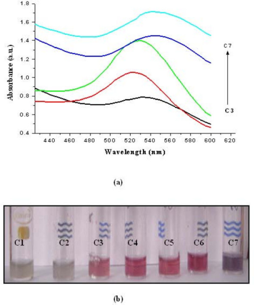 (A) UV-vis spectra of GNPs synthesis by adding different concentrations of NADPH in the solution of suspended biomass along with HAuCl4 (C3 to C7) and (B) shows the GNPs synthesis by adding different concentrations of NADPH in the solution of suspended biomass along with HAuCl4 (tubes C3 to C7). In controls (C1 and C2), either cell mass (C1) or NADPH (C2) was not added.