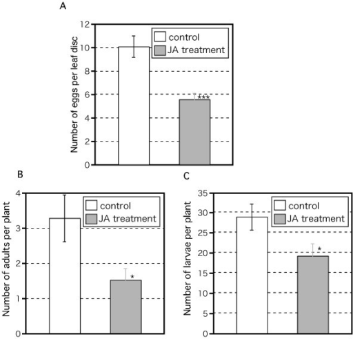 Effect of JA-induced Arabidopsis defense response on thrips population. Twenty adult females fed on 3-week-old WT plants. Either 50 μM JA or water (control) was applied 2 days before thrips were introduced. After 2 weeks, eggs (A), adults (B), and larvae (C) were counted. Mean ± SD based on five independent determinations. Asterisks indicate significant differences (Student's t-test), *p < 0.05, ***p < 0.001.