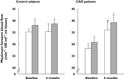 Effects of pitavastatin on forearm blood flow during reactive hyperaemia in patients with coronary artery disease and controls after 6 months' treatment. Blood flow was measured using strain-gauge plethysmography directly before and 2 h after, patients consumed a modified standard test meal (Japan Diabetes Society) after an overnight fast. *P < 0.05 vs. baseline preprandial data, †P < 0.05 vs. baseline postprandial data. Reproduced with permission from Arao et al. [48]. CAD, coronary artery disease. Before meal (□); After meal (■)
