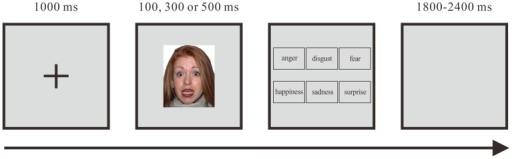 The procedure for a single trial of the facial expression test.