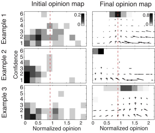 "Three representative examples of the collective dynamics observed in the computer simulations.For each example, the initial opinion map is shown on the left-hand side (experimental data), and the final opinion map after N = 300 rounds of simulations on the right-hand side. The opinion maps represent the proportion of individuals with a given opinion (x-axis) and a given confidence level (y-axis). As in Fig. 1, the normalized opinion is the actual opinion divided by the true value. The correct answer is represented by the red dashed lines (corresponding to a value of 1). Outliers with normalized opinion greater than 2 are not shown. The arrow maps represent the average movements over both opinion and confidence dimensions during simulations. Examples 1, 2, and 3 correspond to the questions ""What is the length of the river Oder in kilometers? "", ""How many inhabitants has the East Frisian island Wangerooge?"", and ""How many gold medals were awarded during the Olympics in China in 2008?"", respectively. The final convergence point may be determined by a dense cluster of low confidence individuals, as illustrated by Example 2 (majority effect), or by a few very confident individuals as in Example 3 (expert effect)."