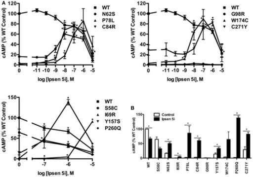 Ipsen 5i rescued the function of intracellularly retained mutant MC4Rs in HEK293 cells. HEK293 cells stably expressing WT or mutant MC4Rs were treated with either different concentrations of Ipsen 5i (A), 10−6 M Ipsen 5i (B), or DMSO as control for 24 h. Cells were washed twice and stimulated with 10−6 M NDP-MSH for 1 h. Intracellular cAMP samples were collected and cAMP concentrations were measured using RIA. The results are expressed as % DMSO-treated WT cAMP production. Data points are shown as mean ± SEM of at least two or three independent experiments. *Significantly different from the DMSO-treated control group, p < 0.05.