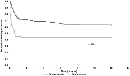 Kaplan-Meier curves (severe sepsis and septic shock) for one year survival after admission to the intensive care unit.