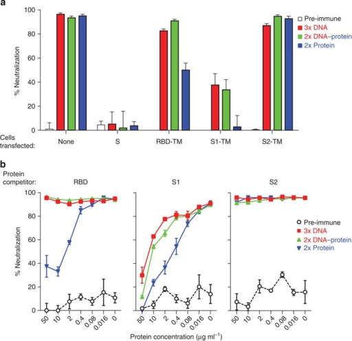 Varied vaccination regimens elicit neutralizing antibodies that target different regions of the MERS-CoV Spike glycoprotein.Immunization with different vaccine regimens elicited neutralizing antibodies that target the Spike glycoprotein within and outside the RBD. (a) Cell adsorption assay. Sera from mice immunized with MERS-CoV S DNA-only, S DNA prime and S1 protein plus Ribi adjuvant, or S1 protein plus Ribi adjuvant prime and boost were evaluated for neutralization activity against pseudotyped MERS-CoV England1 after adsorption with HEK 293T cell-surface-expressed MERS-CoV Spike proteins: S, RBD, S1, S2. Serum neutralization was tested at a single dilution. Sera adsorbed with untransfected HEK 293T cells served as controls and retained 95% of neutralization activity. Each bar represents the mean of triplicate assays with s.e.'s. The experiment was repeated once to ensure reproducible results; one of the two experiments is shown. (b) Protein competition neutralization assay. Sera at a single dilution from the immunized mice were also assayed for neutralization of MERS-CoV England1 pseudovirus in the presence of soluble MERS-CoV RBD, S1 and S2 proteins at concentrations of 0.016–50 μg ml−1. Each data point represents the mean of triplicate assays with s.e.'s. The experiment was repeated once to ensure reproducible results; one of the two experiments is shown.