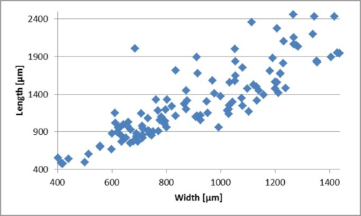 Measurements of length vs. width.Data from 115 T. agglutinans specimens collected in this study. The average Length:Width ratio is 1.4±0.3.