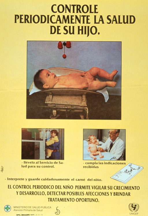<p>Yellow poster with black lettering.  Title at top of poster.  Visual images are reproductions of color photos.  Dominant visual image is a baby lying in a scale.  Smaller images show a mother taking her child to a health center and a doctor examining a baby.  Caption, below images, stresses the role of periodic visits in monitoring health, detecting diseases, and providing treatment.  Publisher information and logo in lower left corner, UNICEF logo in lower right corner.</p>