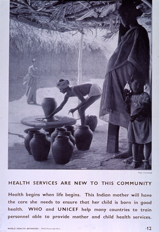 <p>White poster with black lettering.  Upper portion of poster features a reproduction of a b&amp;w photo in which a pregnant woman looks out into a yard where a potter makes urns.  A small girl stands next to the woman.  Title below photo, caption below title.  Note in lower left corner.</p>