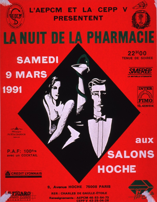 <p>Predominantly red poster with multicolor lettering.  Publisher information at top of poster.  Title below publisher information.  Visual image is an illustration of a man and woman in evening wear.  A snake coiled around a cup is between them.  Additional text on poster lists time, date, location, and admission price.  Sponsor logos on both sides of poster.</p>