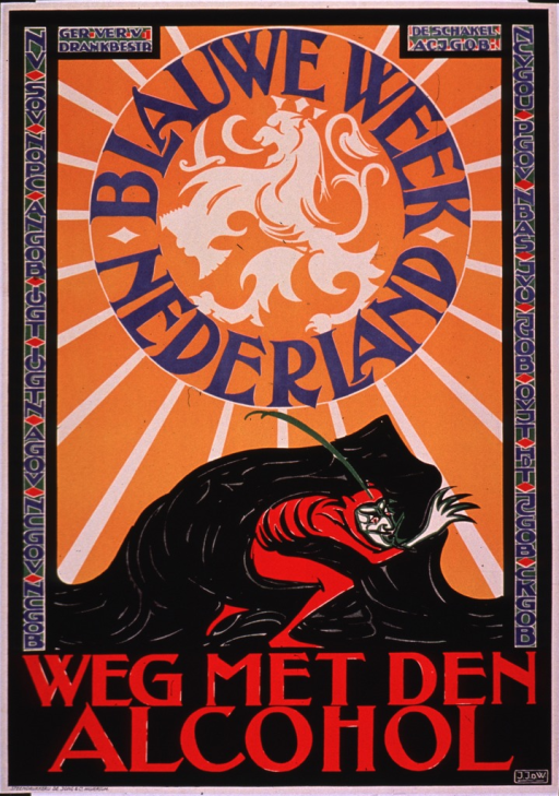 <p>Multicolor poster with blue and red lettering.  Publisher information at top of poster.  Left and right edges feature what appear to be acronyms for temperance organizations.  Visual image is an illustration of a devil character creeping out from a black mound, perhaps a rock or a cloak, beneath a brilliant sun.  Note text and a griffin appear in the center of the sun.  Note text refers to a &quot;blue week.&quot;  Title below illustration.  Title may refer to banishing alcohol.</p>