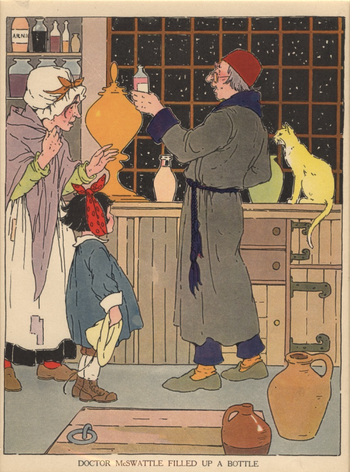 <p>A doctor wearing a stocking cap and night clothes holds up a bottle to an old woman in a kerchief and a small child with a red scarf tied around her head.  Other bottles and a yellow cat can be seen on the shelves and counter in the back.</p>