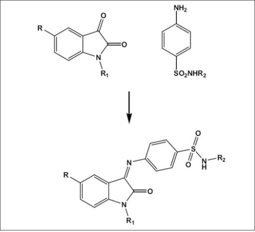synthesis of isatinsulphonamide derivativesFor SPIII-S, R is H, R1 is H and R2 is H; for SPIII-SMe, R is CH3, R1 is H and R2 is H; for SPIII-SCl, R is Cl, R1 is H and R2 is H; for SPIII-SM, R is Cl, R1 is H and R2 is 4,5-dimethyl-2-isoxazolyl; for SPIII-5Br-AC, R is Br, R1 is COCH3 and R2 is 4,6-dimethyl-2-pyrimidinyl; for SPIII-5Br-BZ, R is Br, R1 is COC6H5 and R2 is 4,6-dimethyl-2-pyrimidinyl; for SPIII-5Me-AC, R is CH3, R1 is COCH3 and R2 is 4,6-dimethyl-2-pyrimidinyl and for SPIII-5Cl-BZ, R is Cl, R1 is COC6H5 and R2 is 4,6-dimethyl-2-pyrimidinyl