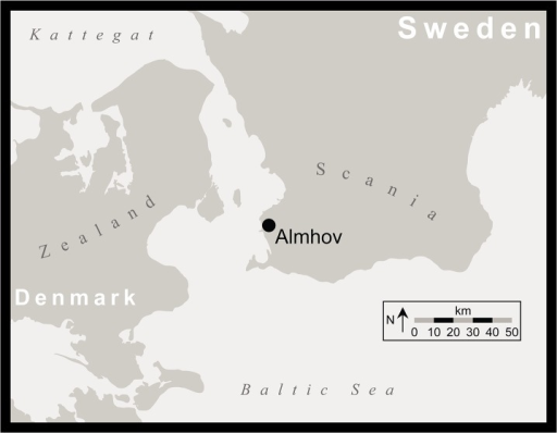 The location of Almhov in Scania.