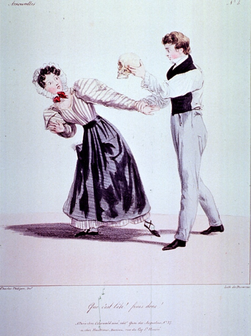 <p>Caricature:  A young couple stands together holding hands; the man holds up a human skull which frightens the woman.</p>