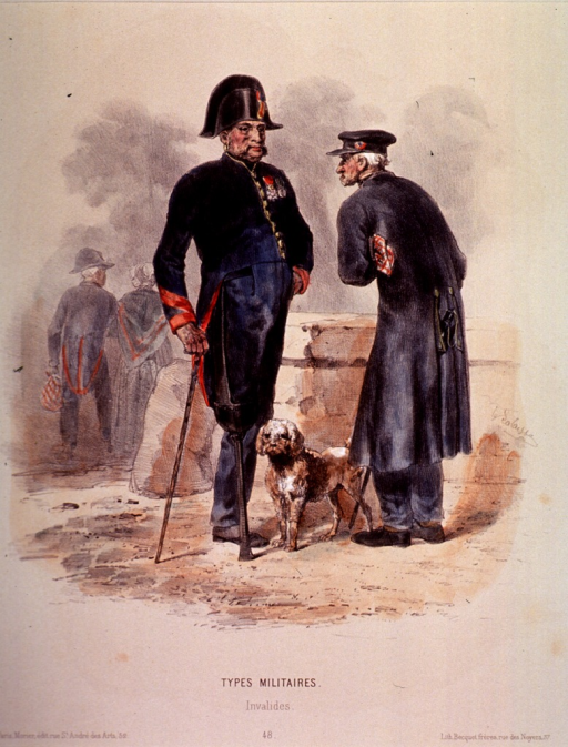 <p>Full length view of two soldiers standing, one with an artificial leg.</p>