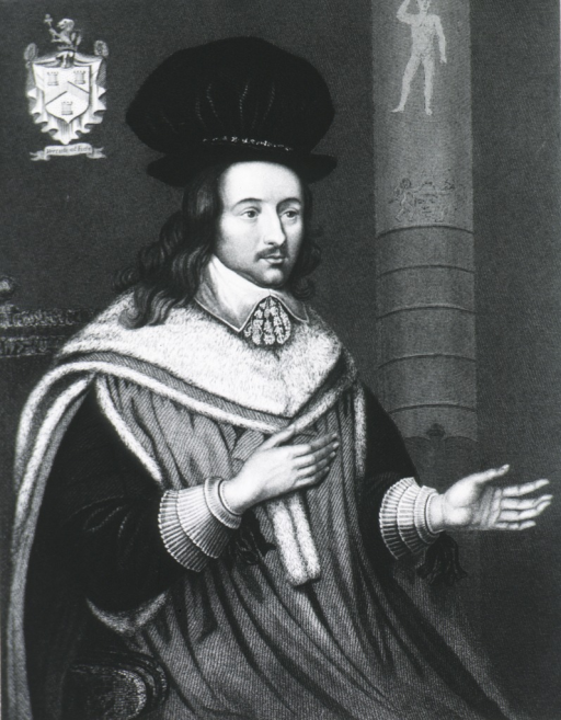 <p>Seated, three quarter length held out; wearing cloak and cap.  Coat-of-arms in background.</p>
