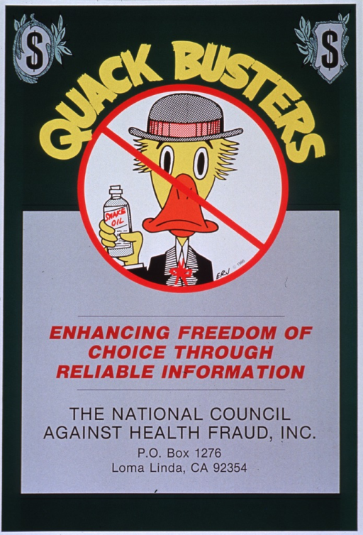 <p>Green poster with multicolor lettering.  Initial title phrase near top of poster, along with dollar signs in the upper corners.  Visual image is an illustration of cartoon-character duck, wearing a suit and hat while holding a bottle of snake oil, with a red &quot;do not&quot; sign superimposed.  Initials ERJ at bottom of illustration.  Remaining title phrase below illustration.  Publisher information below title.</p>