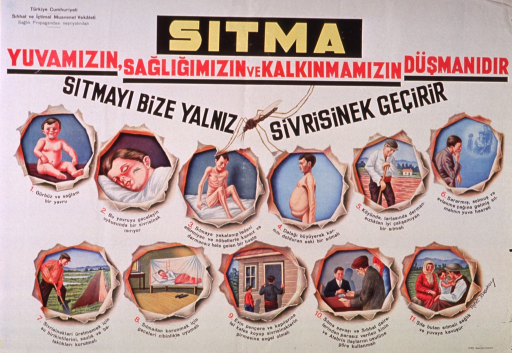 <p>Predominantly white poster with multicolor lettering.  Publisher information in upper left corner.  Title at top of poster appears to address the concept of malaria as an enemy of home, health, and progress.  Visual images are illustrations of a mosquito, a healthy baby, a child being bitten by a mosquito, people showing ill effects of malaria, and preventive measures such as using a bednet and putting up screens, etc.</p>