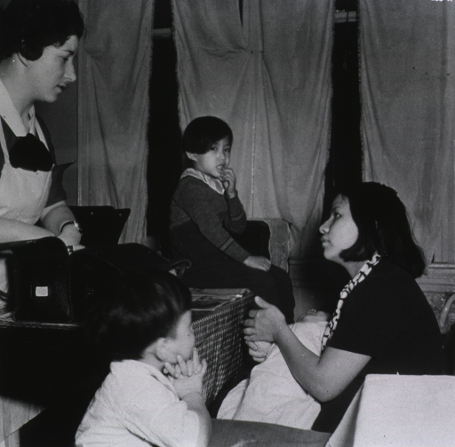 <p>A nurse instructs a mother in caring for her children at home.</p>