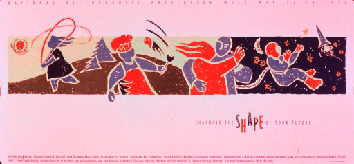 <p>Predominantly white poster with multicolor lettering.  Initial title phrase at top of poster.  Visual image is an abstract illustration depicting people skipping rope, flipping a burger, dancing, and floating in space.  Remaining title phrase below illustration.  Sponsor information at bottom of poster.</p>