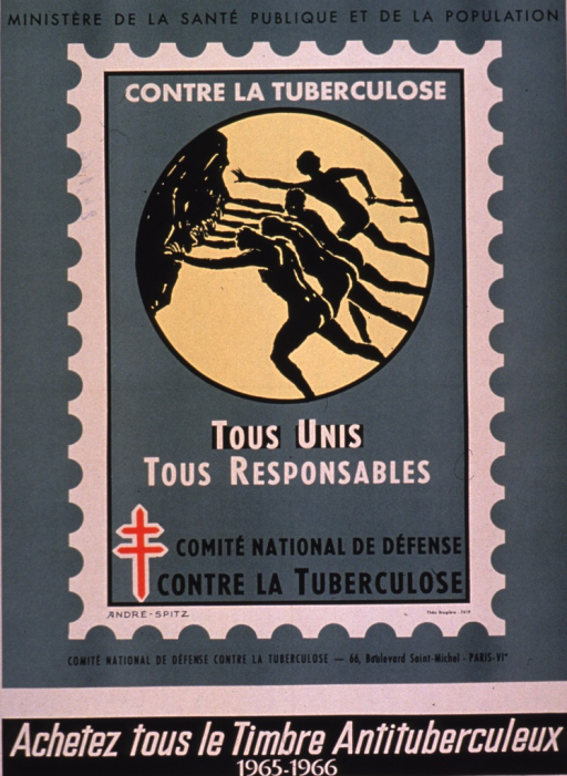 <p>Predominantly green poster with black and white lettering.  Sponsor information at top of poster.  Visual image is an illustration of the 1965-1966 anti-tuberculosis stamp.  The stamp depicts three people pushing against a large rock; another person and a child are coming to join the effort.  Title on stamp, along with a double-barred cross.  Publisher information below stamp.  Note at bottom of poster urges buying the stamp.</p>