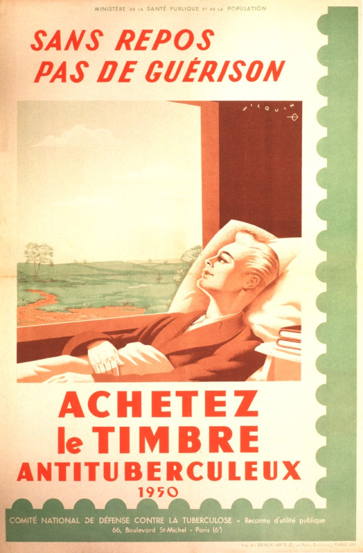 <p>At the top of the poster is &quot;Ministere de la sante publique et de la population&quot;.  The center of the poster shows a sick man in a robe, lying in bed, looking out the window. Under the directive to buy the stamp is the year 1950.  The Comite national de defense contre la tuberculose, along with its address, appears at the bottom of the poster.</p>