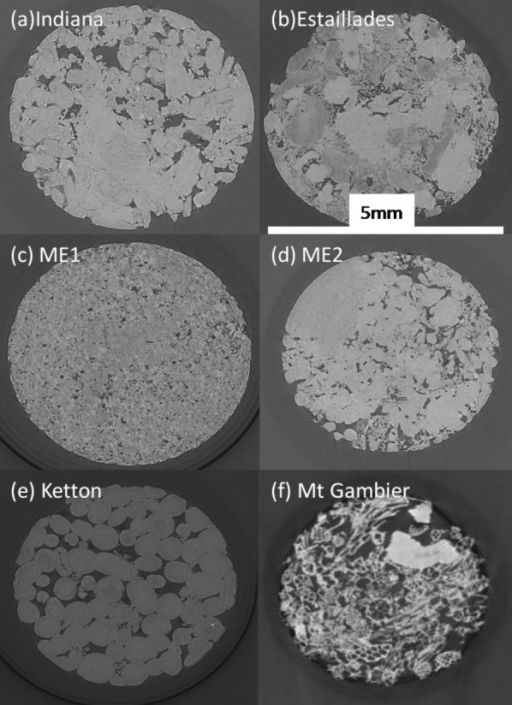2-D cross sections of 3-D gray-scale images for the six carbonate rock samples studied: (a) Indiana limestone, (b) Estaillades limestone, (c) ME1, (d) ME2, (e) Ketton limestone, and (f) Mount Gambier limestone. The images were acquired with a SYRMEP beamline at the ELETTRA Synchrotron in Trieste, Italy.
