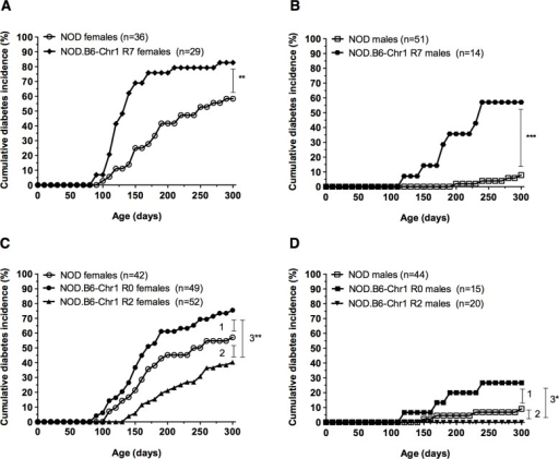 Congenic NOD mouse strains exhibit different diabetes incidences and localize Idd5.4.The cumulative incidence of diabetes was determined for age-matched cohorts for NOD and NOD.B6-Chr1 R7 females (A) and males (B); and age-matched cohorts for NOD, NOD.B6-Chr1 R0 and NOD.B6-Chr1 R2 females (C) and males (D). Congenic NOD mouse strains were homozygous for their respective B6-derived intervals. Pairwise comparisons of diabetes incidence curves were performed using the log-rank test: (A) ** P = 0.001; (B) *** P = 4.7x10-6. For panel (C) and (D), the P values were corrected for multiple testing (i.e. three comparisons): (C) 1: Holm-adjusted P = 0.09, 2: Holm-adjusted P = 0.09, 3**: P = 0.0002; (D) 1: Holm-adjusted P = 0.15, 2: Holm-adjusted P > 0.2, 3*: Holm adjusted P = 0.04.