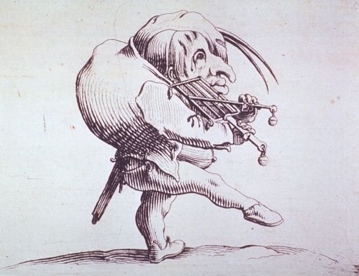 <p>A grotesque figure of a humpbacked man playing a musical instrument.</p>