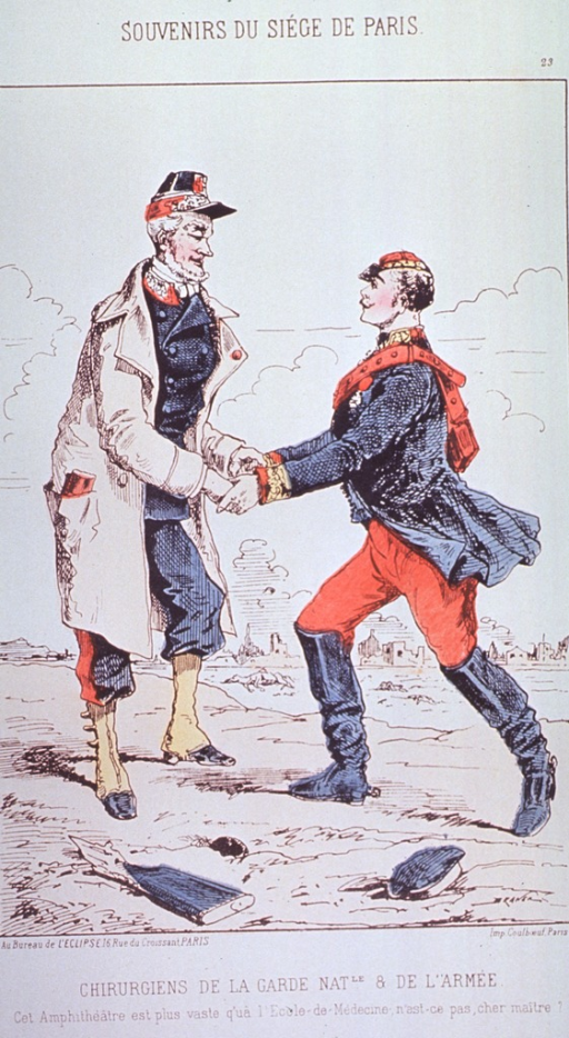 <p>Two military surgeons meet on an empty battlefield.</p>