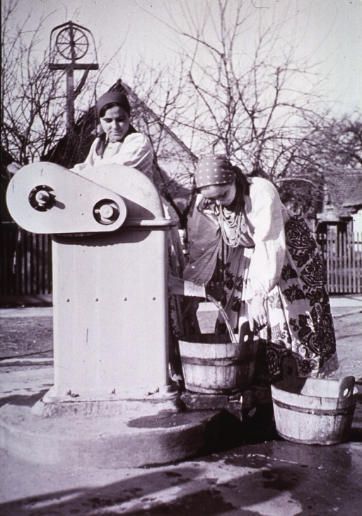 <p>Two women drawing water from a village pump in Hrvatska Posavini, Yugoslavia.  One of a collection of pictures from 1928 depicting the early Public Health Organization.</p>