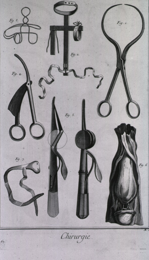 <p>Instruments include tweezers or lithotomy forceps known as d'helvetiennes, a machine to correct a hunchback, lancets, devices to relieve hernias - one of which is a Le Dran hernial bistoury, and a bandage to contain a hernia.</p>