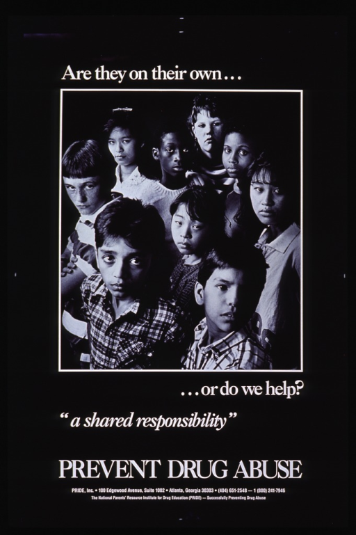 <p>Black poster with white lettering.  Initial title words at top of poster.  Dominant visual image is a reproduction of a b&amp;w photo of a multicultural group of adolescents.  The teens are stand in a cluster, facing the camera, with serious expressions on their faces.</p>