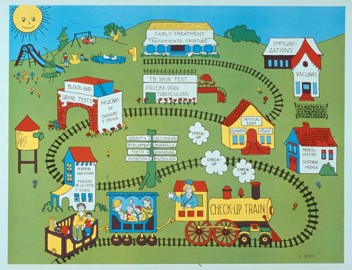<p>Multicolor poster with black lettering.  Title appears in the illustration, on the engine of a two-car train.  The cars each hold a family group with multiple children.  The train runs through a park, passing buildings and structures labeled with steps of a preventive health visit.  Steps include medical history, check of growth, teeth, and diet, hearing and vision screening, blood and urine tests, TB skin test, physical exam, vaccinations, and early treatment.  All of the labels are given in both English and Spanish.</p>