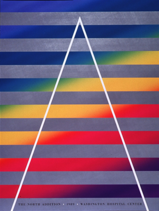 <p>Predominantly gray poster with black lettering.  Poster dominated by visual image, a white bottomless triangle superimposed on gray and multicolor stripes.  Title at bottom of poster.</p>