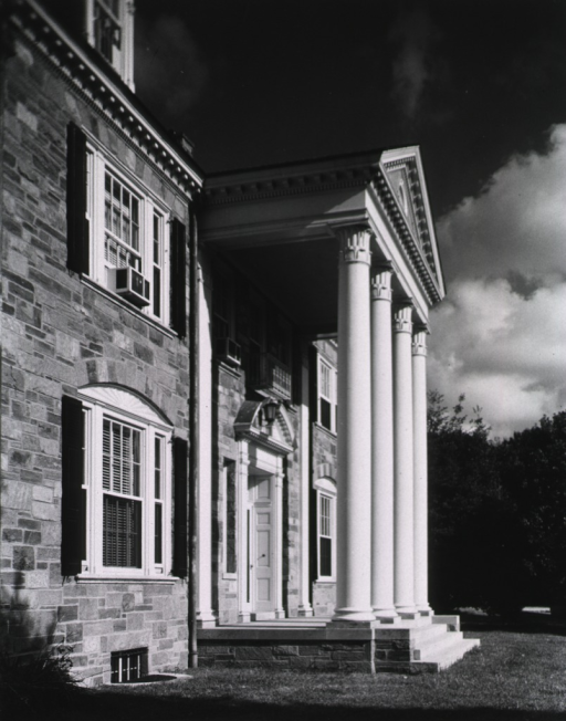 <p>Exterior view showing East entrance.</p>