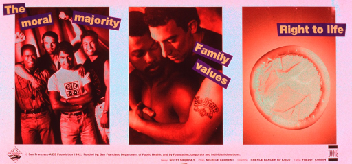 <p>Predominantly white poster with green and black lettering.  Title at top of poster, with each phrase associated with a photo reproduction.  Photos feature an ethnically diverse group of men, a male-male couple in a tender embrace, and a condom.  Photos are tinted in different shades of brown.  Publisher and sponsor information at bottom of poster.</p>