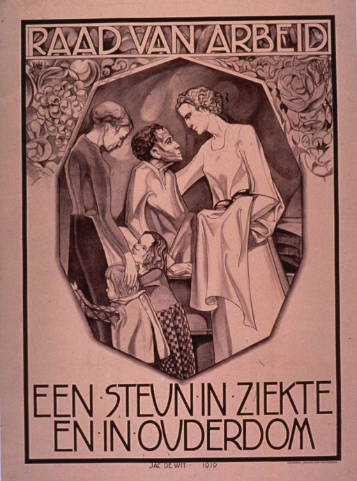 <p>Predominantly cream or discolored white poster with brown lettering.  Initial title phrase at top of poster.  Visual image is an illustration of a very thin man in his sickbed.  A woman dressed in white helps him sit up; another woman and two children stand near the bed.  Remaining title text below illustration.  Title appears to refer to a workers' advisory board that offers assistance in sickness and old age.  Printer information in lower right corner.</p>