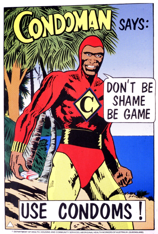<p>Multicolor poster with yellow and black lettering.  Cartoon-style illustration of a man dressed as a super hero in a red leotard and yellow tights, with a &quot;C&quot; on his chest.  He holds a small box in his right hand.  Title appears in three parts, at top of poster, as text balloon from man's mouth, as caption-like phrase near bottom of poster.  Publisher information at bottom of poster.</p>