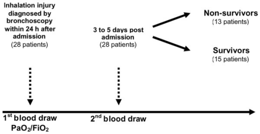 Outline of the study. The arterial oxygen tension (PaO2)/fraction of inspired oxygen (FiO2) ratio was measured in all patients within 24 hours after admission. Blood was drawn at hospital admission and 5 to 7 days afterward.