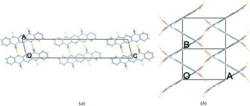 Two projections of the predicted crystal structure of β1-QA: views along the short and long axes. Dashed yellow lines represent hydrogen bonds. The projection along the c axis shows that each molecule is connected to two neighbouring molecules via hydrogen bonds.