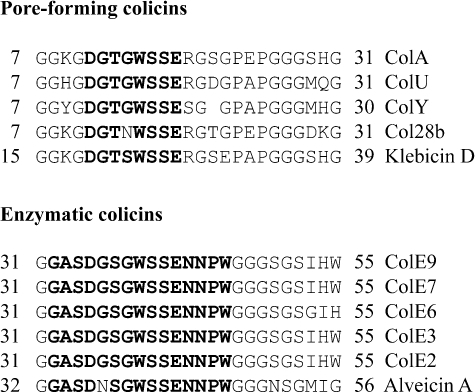 Alignment of residues of the TolB box region of pore-forming and enzymatic group A colicins. Residues of the extended TolB box of ColE9 and residues of the TolB box sequence that are conserved in the other colicin sequences are shown in bold. The residue numbers are indicated at the start and end of each sequence. A padding space has been introduced in the ColY sequence to optimize the alignment. Colicins A, U, Y and E2-E9 are produced by E. coli, Col28b is produced by Serratia marcescens, Klebicin D is from Erwinia tasmaniensis and Alveicin A is from Hafnia alvei.