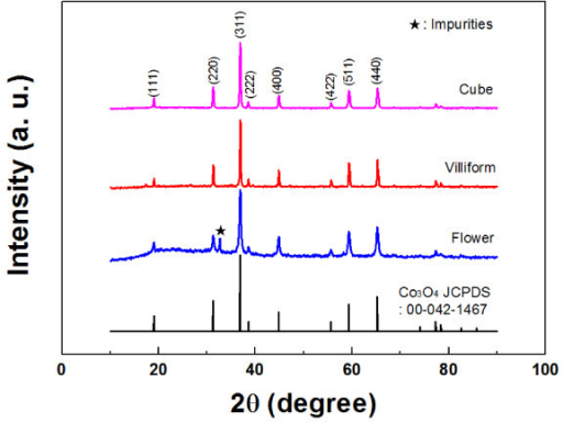 XRD patterns of the Co3O4 nanoparticles and reference Co3O4.