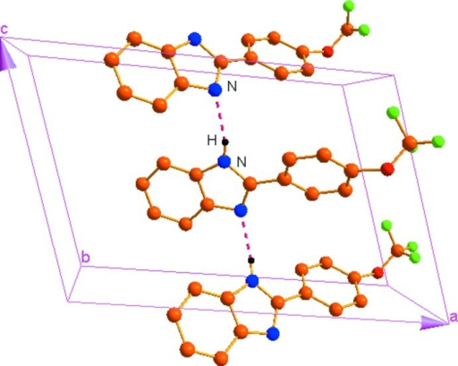 A view of the intermolecular hydrogen bonds(dotted lines) in the crystal structure of the title compound. H atoms non participating in H-bonding and minor components of the disordered CF3 group were omitted for clarity.