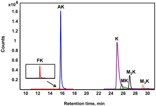 Different lysine species detected in purified histone H4 from TK6 cells.Lysine adducts were monitored by tandem mass spectrometry, as described in Materials and Methods. Abbreviations: FK, N6-formyllysine; AK, N6-acetyllysine; K, lysine; MK, N6-mono-methyllysine; M2K, N6-di-methyllysine; M3K, N6-tri-methyllysine.