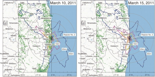 The 24-hour integrated distribution of people on March 10, 2011 (left) and on March 15, 2011 (right).