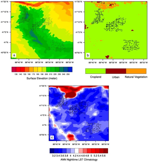 (a) Surface topography (m) at ~1 km spatial resolution for the study region; (b) Land cover and land use map in 2003 over the study region at 0.005° spatial resolution; (c) Spatial pattern of MODIS ANN nighttime LST (°C) climatology at 0.01° spatial resolution over the study region for the period 2003–2013. Plus symbols represent individual wind turbines.