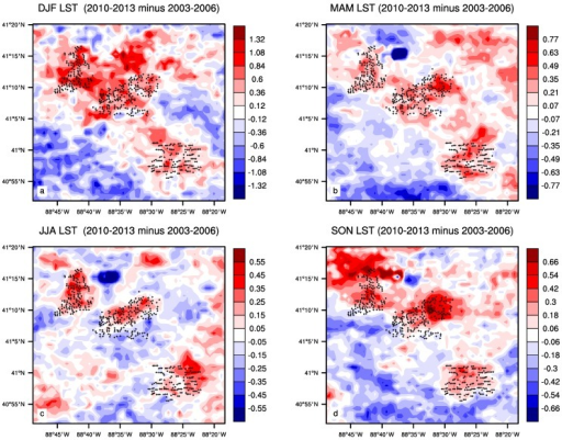 Seasonal mean MODIS nighttime LST differences (°C) between the pre- and post- turbine construction period (2010–2013 minus 2003–2006 averages) in (a) DJF; (b) MAM; (c) JJA and (d) SON. Plus symbols represent pixels with at least one wind turbine.